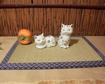 Japanese Porcelain Salt And Pepper Shakers Cat Figurine