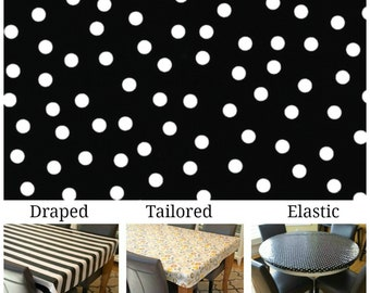 Laminated cotton aka oilcloth tablecloth custom size, fit choose elastic, tailored or draped Robert Kaufman Jet Black Remix white polka dots