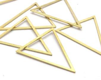Brass Blank Triangles, 6 Raw Brass Triangles (39x39x31mm) Bs-1308