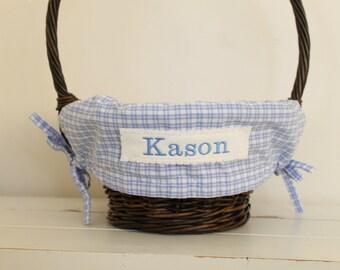 Small Easter Basket Liner -- Blue/White Plaid -- Free Monogram --