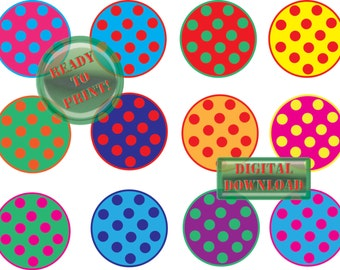 Polka Dot Cupcake Toppers Printable 12 Retro Cake Party Decorations