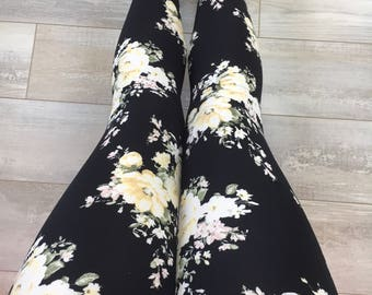 """Leggings for women, ultra comfortable in """"brushed poly"""" yellow flowers on black polyester/spandex"""
