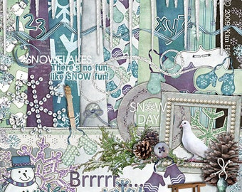 """Winter Digital Scrapbook Kit - """"Winter Wonders"""" digiscrap kit with icicles, pine cones, snowman and sled in purple, blue, teal and white"""