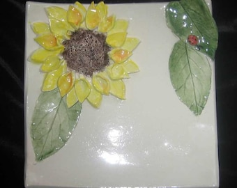 Yellow Sunflower  Plate