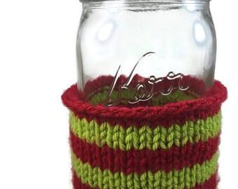 Quart Sized Mason Jar Cozy - Green and Red Striped Mason Jar Sleeve - Mason Jar Cover - Mason Jar Accessories - Mason Jar Decorations