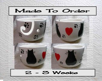 Valentines Day Cats & Hearts Yarn Bowl Handmade Original Earthenware Clay by Grace M Smith
