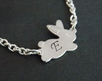 Silver Necklace, Rabbit Necklace, Bunny, Silver Bunny, Silver Rabbit  Pendant, Initial, Personalized, Bunny Pendant, Animal Jewelry