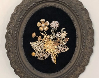 Vintage & Costume Jewelry Framed Flower Art in Antique Cast Iron Frame
