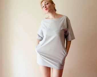 Backless Dress Silver Lurex Holiday Dress Jersey Mini Dress Light Grey Glitter with Sleeves Pockets Sequins