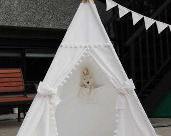 Pom Pom Teepee with Poles,Floor,Pocket,Handbag,LED Light,  Kids Teepee,Play Tent,Childrens Teepee, Tipi,Playhouse,Kids Room Decor