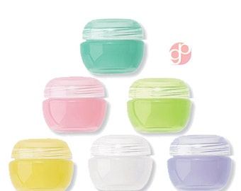 6  2ml Lip Balm Jars,  Cosmetics, Solid Perfume, Salve, Glitter, Lip Gloss, in Assorted Fruity  Fruit Colors Tiny Empty Cosmetic Containers