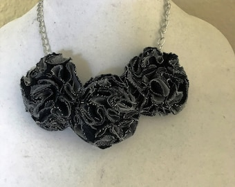 Handmade Denim and Lace Flowers Necklace