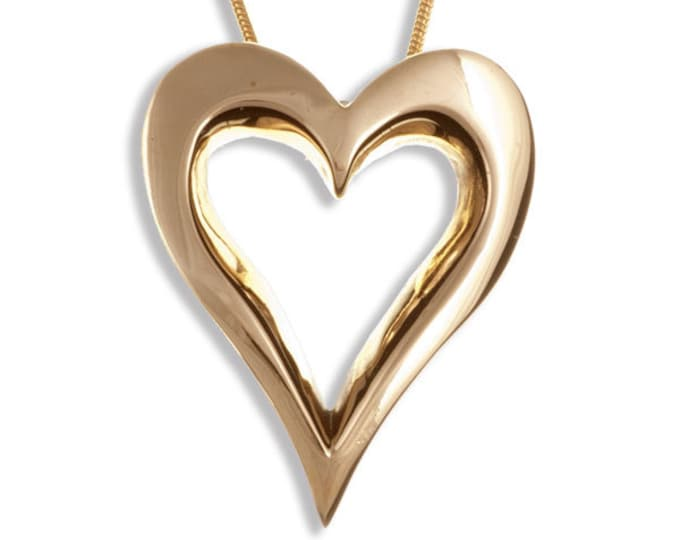 Open heart pendant – bronze –Hand Made in UK