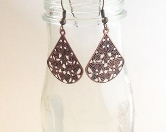 Bronze Swirl Drop Earrings