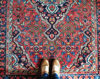 Vintage Persian Hoseinabad rug, Persian rug, persian carpet, floral rug, red and blue rug, large area rug, large rug, bohemian rug CAS87