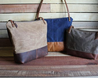 Waxed Canvas tote, zipper purse, crossbody zipper bag, waxed canvas purse, Zipper Top Handbag, free shipping, canvas bag, tote bag