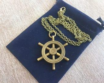 "Antique Finish Brass Ship Wheel w/ 30"" Chain & Velour Bag - Necklace Pendant Charm - Old Vintage Style - Nautical Maritime Captain Pirate"