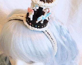 Sweet Whipped Cream BLACK Carousel Headband