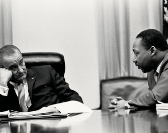 President Lyndon B. Johnson Meets With Dr. Martin Luther King, Jr. In 1966 - 5X7, 8X10 or 11X14 Photo (EP-787)