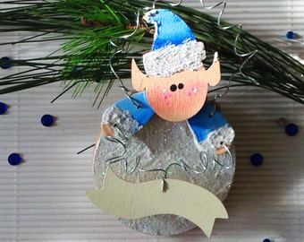 Personalize Christmas Ornament. Personalized Gift. Winter Elf. Custom Children's Ornament. Baby's 1st Christmas.