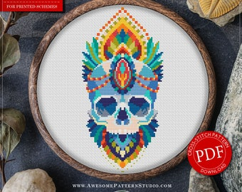 Mandala Skull Cross Stitch Pattern for Instant Download *P186 | Lovely Cross Stitch| Room Decor| Needlecraft Pattern| Easy Cross Stitch