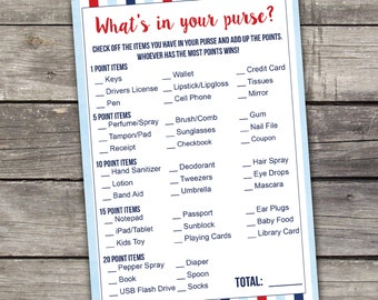 Nautical Boy Baby Shower Whats in Your Purse Baby Shower Game - Baby Shower Games - Activities - 217