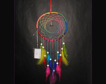 Dreamcatcher Chakra multicolor Rooster feathers Wooden Frame Rainbow ø 21 Cm