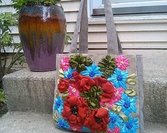 Diaper bag/ Messenger bag/Canvas tote/shoulder bag/ Fabric purse/floral tote bag/Hobo Bags/ gift
