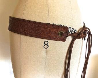 RALPH LAUREN TOOLED Leather Belt, O/S