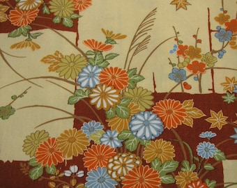 209: Vintage woman's kimono/casual/wool fabric/autumn/flower/chrysanthemum/Japanese pampas grass/Japanese apricot/ume/