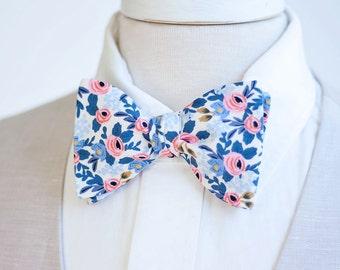 Bow Ties, Bow Tie, Bowties, Mens Bow Ties, Freestyle Bow Ties, Self-Tie Bow Ties, Groomsmen, Rifle Paper Co - Rosa In Periwinkle
