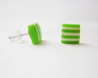 SALE Girls green earrings, Candy striped earrings, Geometric studs, Square green post earrings, Small green earring, Cute earrings, studs