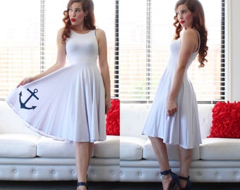Sale! Knee Length!  White ANCHOR Swing Dress, handmade by Hardley Dangerous Couture, 1950s Style Pin Up Party Dress