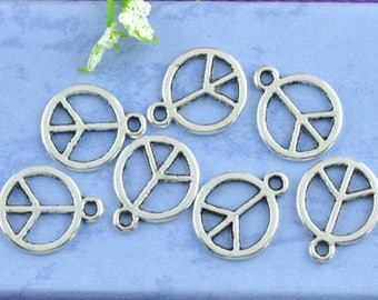 Peace and Love 10 charms in silver