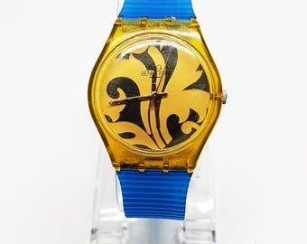 Blue Swatch Watch, Yellow Watch for her, Womens Watches, Nature watch, Masonic Watch swatch, Genuine Swatch watches, Blue strap for swatch,