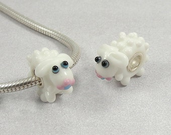 Sheep Lamb Large Hole Lampwork Glass Bead - 925 Sterling Silver European Bead Charm