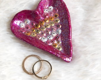 Pink Heart Ring Dish - Sparkly and Sequined - Handmade and Individual