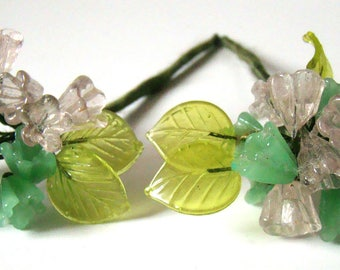 Vintage Glass Handmade Flowers Leaves on Wire Silk Wrapped