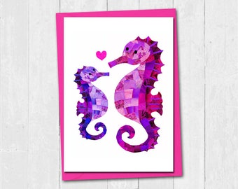 Seahorse mothers day card, First mothers day card, Cute mum seahorse card, Personalised mothers day card, Mother and baby daughter son card