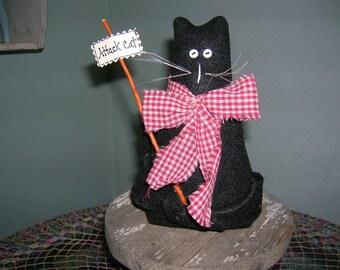 PRIMITIVE / Judaica CAT Doll, noir, étagère gardienne, noeud, décor primitif, fait à la main Cat Doll