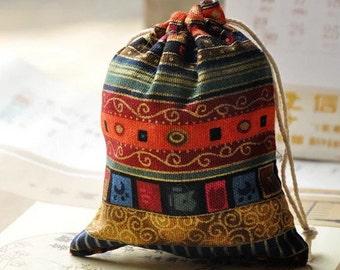 Linen Rope Bag, Linen Drawstring Bag, Traditional Chinese Bag, Jewelry Bag, Gift Bag, Accessory Bag