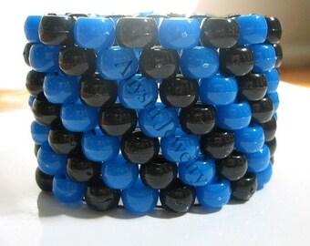 Black, Blue Kandi Cuff, Diagonal Raver Bracelet