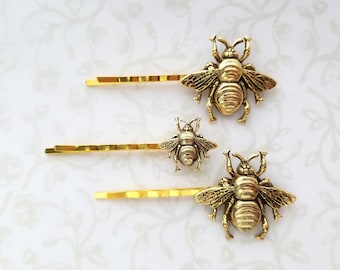 Gold Antiqued Bumble Bee Bobby Pins in Two Sizes, Woodland Hair Pin, Boho Rustic Wedding Bridal Hair - Sweet As Honey, The Bees Knees