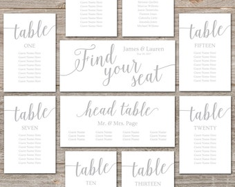 Printable Seating Plans for Wedding // Silver Seating Chart Cards // Editable Seating Plan, Instant Download // Silver Wedding Decor