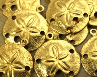 Sand Dollar Charms - 12 pcs - Yellow Brass - Medium Sand Dollars - Nautical Charms - Beach Charms - Patina Queen - Raw By the Dozen