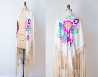 1920s Fringed Piano Shawl / 20s hand Painted Silk Scarf