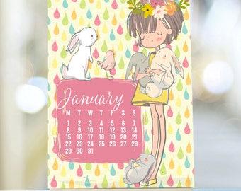 "Large ""Forest Friends"" 2018 Calendar, 2018 Desk Calendar, Stand Calendar, 2018 Planner, Easel Desk Calendar Cute Desk Calendar Mini Calendar"