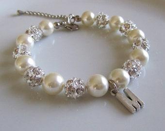 Pearl bracelet with rhinestones, personalized bracelet, customized bracelet, wedding Jewelry, bridesmaid gift ideas, initial bracelet