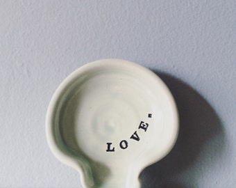 Spoon rest - pottery spoon rest, ceramic dish, mint green blue with the word Love - romantic present gift for her him