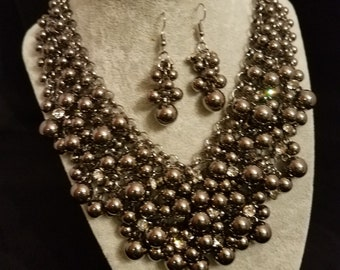 Hidden Mickey - Gunmetal Necklace and Earring Set
